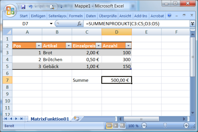 Excel Matrixfunktion SUMMENPRODUKT