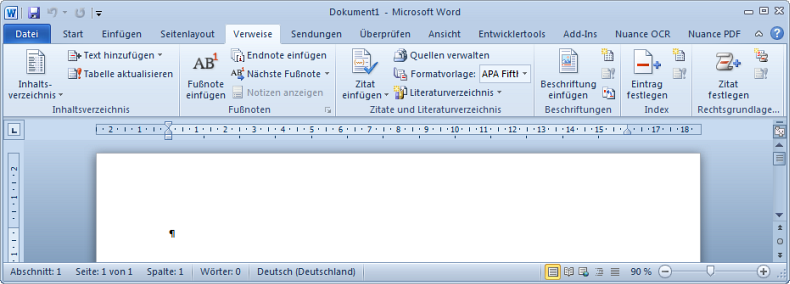 Word 2010 - Register Verweise